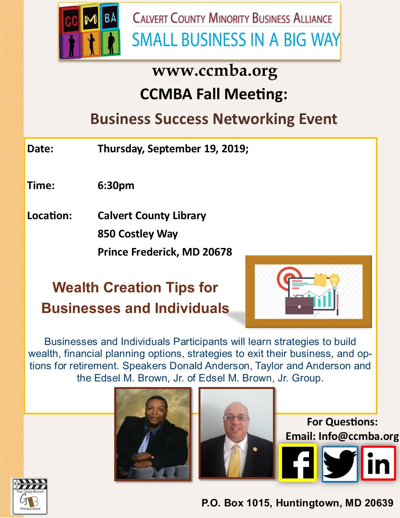 CCMBA Fall Meeting Flyer